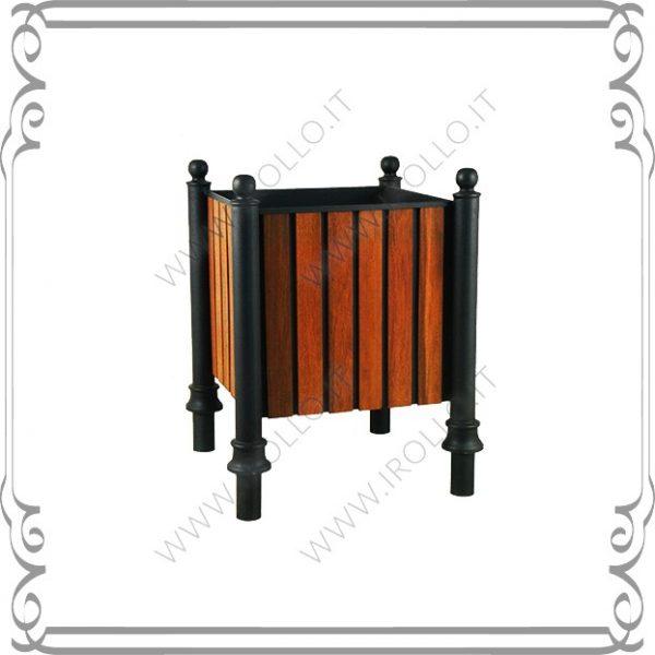 Fioriera in Ferro con rivestimento in legno Iroko FR011