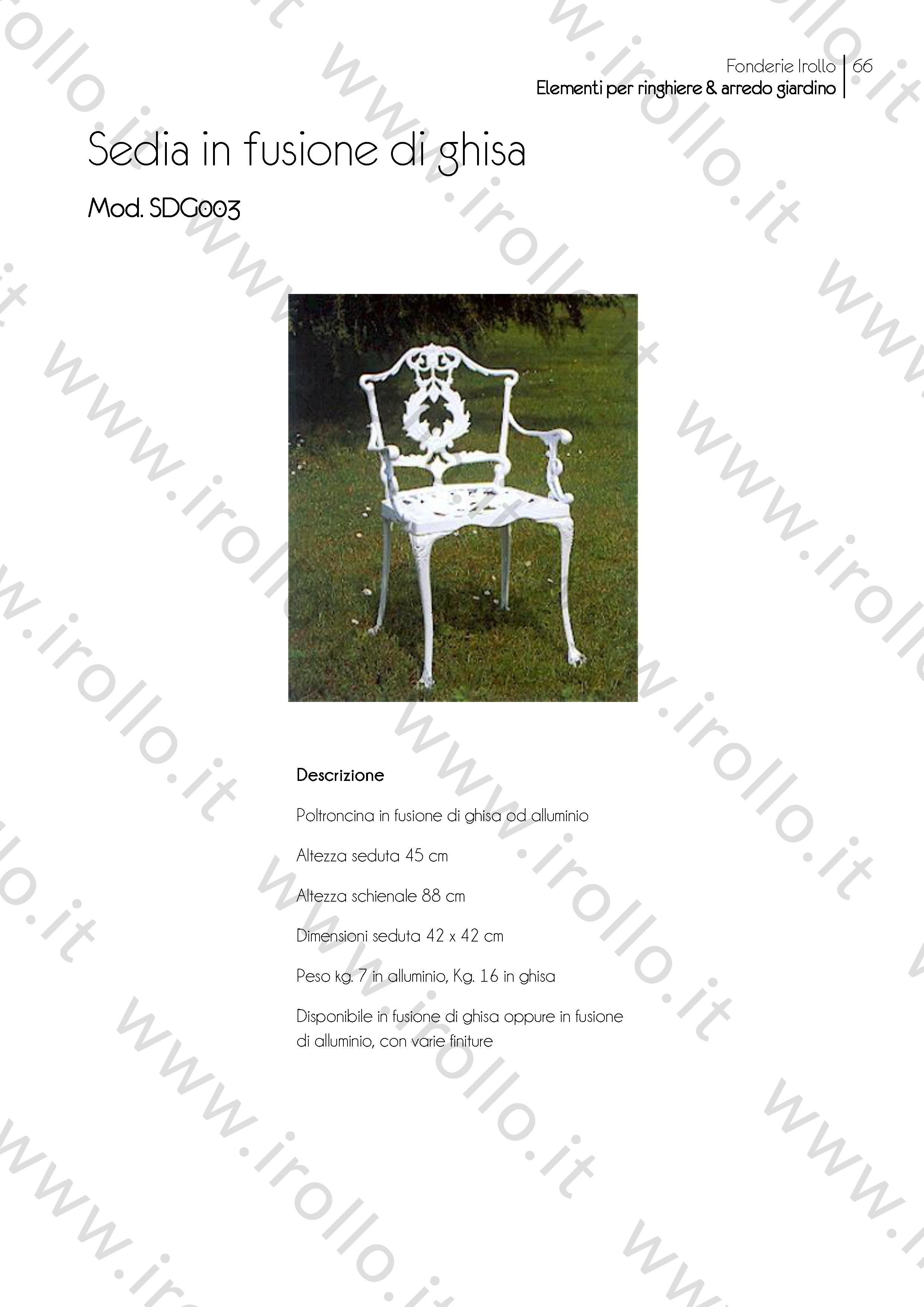 Sedie Da Giardino In Ghisa.Sedia In Fusione Di Ghisa Sdg003 Irollo Arredo Urbano